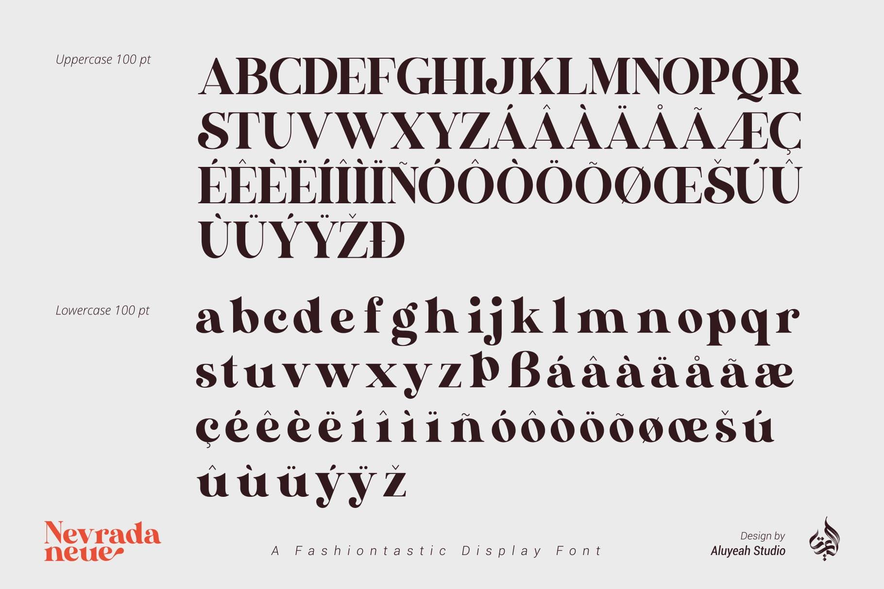 Nevrada Neue a Fashiontastic Display Font